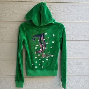 Juicy Couture green velour hooded jacket SPetite